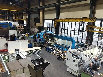 Lathe and milling machine in maintenance workshop